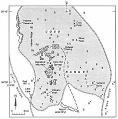 Fig. 5.22 Distribution of eruptive vents in the Coso volcanic field of California. The locations of vents are shown by letters designating the composition of materials erupted: B = basalt, A = andesite, D = dacite, and Rd = rhyodacite. Asterisks denote the location of Late Pliocene and early Pleistocene vents. (Adapted from Duffield et al ., 1980.)