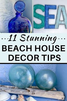 11 beach house decorating ideas for living room, foyer, and coastal wall decor. Beach and coastal DIY home décor ideas on a budget. Mix shells, driftwood, nautical and sea animal shapes into your wall décor. Use light blue, white and grey colors on the walls. #diyhomedecor #diyfurniture #coastallivingrooms #coastaldecor #beachhousedecor #beachhousedecorcoastalstyle