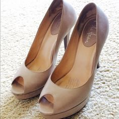 Cole Haan taupe high heels Taupe colored. Great heel. Extremely comfortable. With Nike Air technology in the shoes. Goes with everything. Very soft leather. Cole Haan Shoes Heels