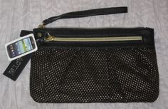 APT9 Rhonda Ruched Wristlet Purse Black/Gold Polk-A-Dot NWT Retail $30 #AS27 #Apt9 #Wristlet