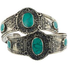 Rock N Rose Astrid Set of Two Turquoise Cuffs ($49) ❤ liked on Polyvore featuring jewelry, bracelets, rings, cuff jewelry, handcrafted jewelry, hand crafted jewelry, tribal jewellery and turquoise jewellery