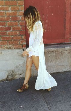 Cowboy Boots & white shorts and flowy shirt