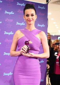 katy perry in purple herve leger bandage dress #sephoracolorwash