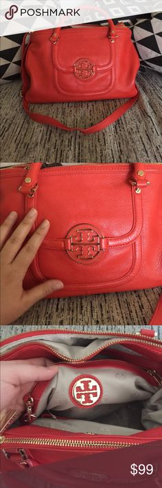 Tory Burch Orange Purse bag shoulder crossbody Super cute Tory Burch bag. Orange. Please see pictures for scuff marks on the bottom of the bag. There are a few signs of wear. But otherwise it's in great shape. No tears rips or scratches. Calf leather. Very soft. Authentic!! Tory Burch Bags Satchels