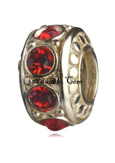 This beautiful ruby red July gold birthstone .925 Sterling Silver European charm fits Pandora, Biagi Trollbeads, Chamilia, and most charm bracelets find out more at adabele.com
