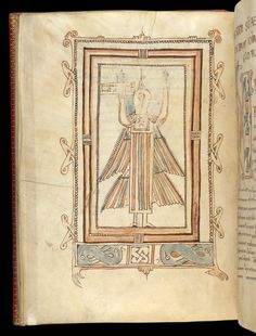 Symbol of St John, in a Breton Gospels, 825; the head of John's eagle is here fused with a human body. (British Library)