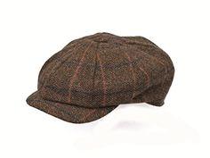 Men s Wool Brown Tweed Herringbone 8 Piece Gatsby Flat Cap BR86 f1877d37093b
