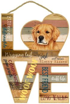 Golden Retriever Love Sign Wooden Plaques, Wall Plaques, Golden Retriever Gifts, Wood Cut, Dog Signs, Doge, Cute Art, Really Cool Stuff, Dog Lovers