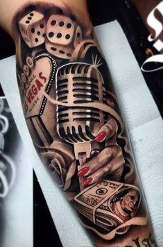 Music Tattoo Sleeves, Sleeve Tattoos, Wolf Tattoo Design, Tattoo Designs, Tatuagem Hot Rod, Hot Rod Tattoo, Chicano Art Tattoos, Rockabilly Tattoos, Full Sleeve Tattoo Design