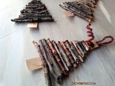Rustic Twig Christmas Tree Ornaments is part of Cardboard christmas tree - How to make an easy twig Christmas tree ornament using card board, twigs and glue A cute and rustic holiday craft idea for gifts, decorating and Rustic Christmas Crafts, Twig Christmas Tree, Cardboard Christmas Tree, Homemade Christmas Decorations, Woodland Christmas, Christmas Crafts For Kids, Xmas Crafts, Diy Christmas Ornaments, Christmas Projects