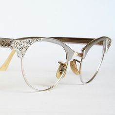 Artcraft Aluminum Filigree Cat Eye Glasses by VintageCatEyeGlasses