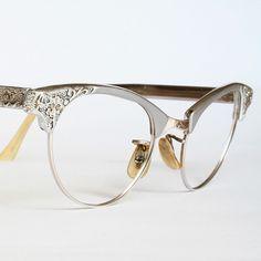 Artcraft Aluminum Filigree Cat Eye Glasses by VintageCatEyeGlasses