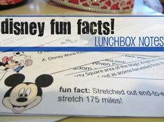 Disney Fun Fact Lunchbox Notes: facts about characters to facts about the theme park to facts about Walt Disney himself. From TeachMama.com