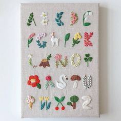 embroidered alphabet for a kid's room