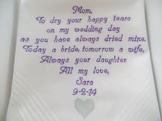 Free GIFT Box  included. Personalized Wedding Handkerchief for the Mother of the Bride or Mother of the Groom. Embroidered Custom Gift., $24.00