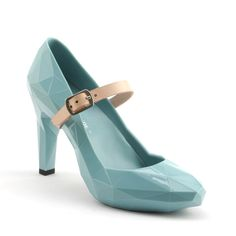 Tiffany colored patent leather mary janes w/nude colored strap