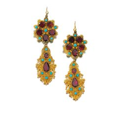 Pair of gold and gem set pendent earrings, Circa composite Each suspending a pendant composed of fine cannetille work, highlighted throughout with circular-cut and pear-shaped foiled back garnets and cabochon turquoises. Victorian Jewelry, Antique Jewelry, Vintage Jewelry, Garnet Jewelry, Turquoise Jewelry, Garnet Earrings, Gold Earrings, Jewelry Accessories, Jewelry Design