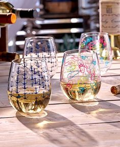 dc2bf54dd5e Sets of 2 Themed Stemless Wine Glasses Wine Gift Baskets, Wine Glass Set,  Nautical