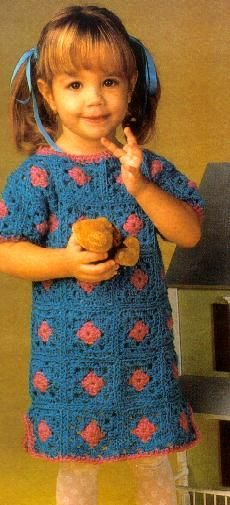Adorable granny square chic toddler dress: free vintage pattern