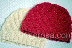 Blog tricô em prosa - para meninos e meninas: gorros Odessa tricotados para a Mariana e para a Dafne