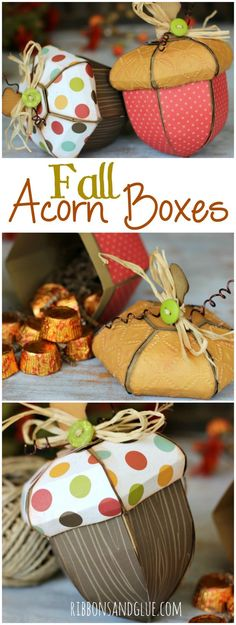 Gorgeous Fall Acorn Boxes made from an SVG cut file perfect to fill up with Fall treats or use in your Fall home decor.