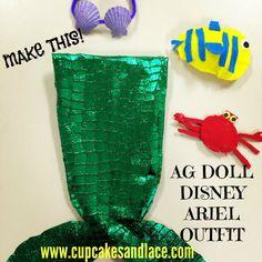 DIY American girl doll Ariel the little mermaid outfit #disneycrafts #agdoll #americangirldoll #ariel