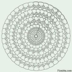 Motif Mandala Crochet, Crochet Circles, Crochet Doily Patterns, Crochet Squares, Crochet Designs, Crochet Doilies, Crochet Beret Pattern, Bonnet Crochet, Crochet Diagram