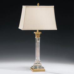 Empire Column Form Brass & Crystal Table Lamp – English Georgian America