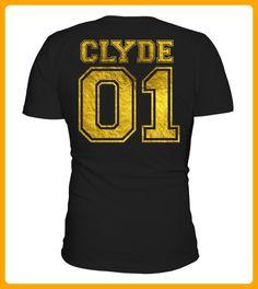 Clyde 01 Gold Partnershirt Liebe Love Valentine Partnerlook Partner - Shirts für partner (*Partner-Link)