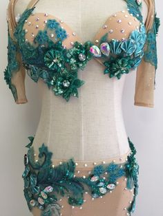 Not a huge fan of the whole nude illusion thing but really love the sequined ribbon flowers Belly Dance Belt, Belly Dancers, Edm Outfits, Dance Outfits, Ballet Tutu, Illusion Costumes, Mermaid Bra, Tribal Costume, Bollywood