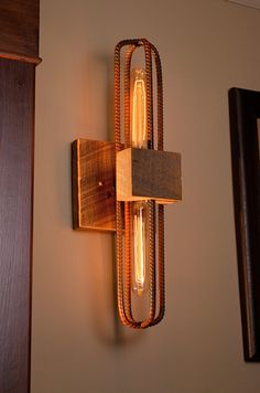 Rebar and Barn Wood Sconce/Vanity Light Fixture by RebarnDesigns