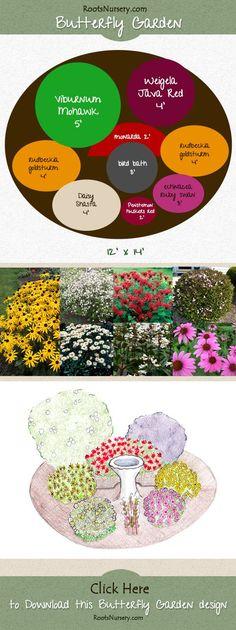 Butterfly Garden. Download the full version with plant list. http://rootsnursery.com/butterfly-bird-garden-design