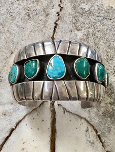 Turquoise & Sterling Silver Heavy Cuff Bracelet Navajo Larry Begay