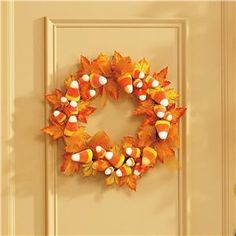 Sugared Candy Corn Wreath | Lillian Vernon - Halloween Outdoor Decor | Lillian Vernon