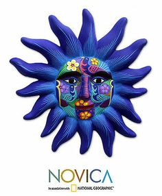 Ceramic Wall Sculpture Mexican Folk Art Handmade 'Sentinel Sun' NOVICA Mexico