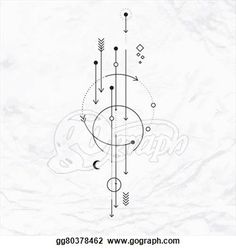 Alchemy symbol with moon, arrows, dots