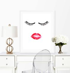 Kiss Lashes Print, Lips and Lashes, Beauty Printable, Makeup art Print, Wall Art Print, 8x10 Print, Makeup print,Bathroom art,Vanity art For a physical print of any artwork sent to you, go here: https://www.etsy.com/listing/470437673/physical-print-of-any-printable-art-work?ref=shop_home_active_1  Instant download! Etsy will email you with all files as soon as your purchase is completed. This means you can have your artwork hanging on your wall today! Get ANY 3 prints for just $12: