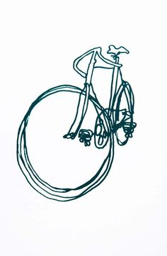 This print is an edition of 36 This quirky fun line drawing makes a lively print in dark green The prints are and are matted in a window matt, ready to pop in a standard sized frame. Fixi Bike, Bicycle Art, Bicycle Design, Bicycle Drawing, Bike Rides, Road Bike, Velo Vintage, Vintage Bicycles, Bike Illustration