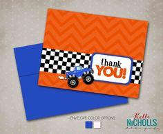 Boy's Birthday Monster Truck Thank You by KelliNichollsDesigns