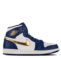 7061488798903f Air Jordan 1 Retro High Deep Royal Blue Metallic Gold Coin White