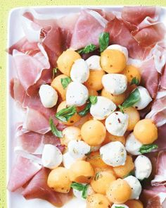 Spring Appetizer Recipes // Cantaloupe and Mozzarella with Prosciutto and Basil Recipe