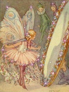 Margaret Tarrant, fairy in the mirror illustration Fairy Dust, Fairy Land, Fairy Tales, Elfen Fantasy, Fantasy Art, Magical Creatures, Fantasy Creatures, Arte Fashion, Kobold