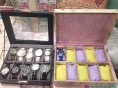 Upcycle shoebox into a watch organizer.
