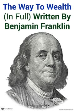 One of the most often quoted figures is Benjamin Franklin, as he provides timeless personal finance advice and wisdom on building wealth. His advice in 'The Way to Wealth' is just as relevant today as it was 270 years ago. Give the complete text a read he Investment Advice, Investment Books, Investing Money, Saving Money, Stock Investing, How To Become Rich, Benjamin Franklin, Budgeting Finances, Money Management