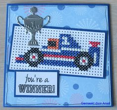 You're a winner Cross Stitch Cards, Cross Stitch Embroidery, Cross Stitch Patterns, Marianne Design, Card Patterns, Zentangle, Diy And Crafts, Beads, Labels