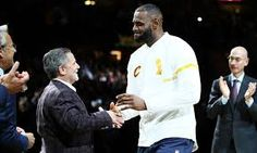 """Cleveland Cavaliers owner Dan Gilbert said he received racist voicemails after Cavs superstar LeBron James called President Donald Trump a """"bum"""" on social media. On Friday, Dave McMenamin of ESPN. Police Comic, Comic Sans Ms, King Lebron James, King James, Nba Cleveland, Kyrie Irving, New York Knicks, Scandal, A Team"""