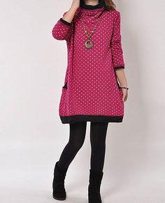 Purple red cotton dress Long sleeve dress by originalstyleshop, $59.90