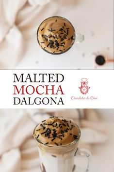 Malted Mocha Dalgona coffee is a new spin on the viral coffee recipe that uses chocolate syrup and malt powder to make something delicious, taste just a little more special! Coffee Drink Recipes, Milkshake Recipes, Smoothie Recipes, Smoothies, Mocha Chocolate, Chocolate Syrup, Chocolate Desserts, Drink Recipes Nonalcoholic, Yummy Drinks