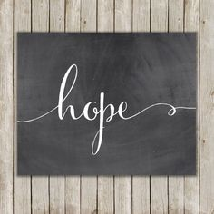 8x10 Hope Printable Art, Hope Calligraphy Print, Typography Print, Typography…