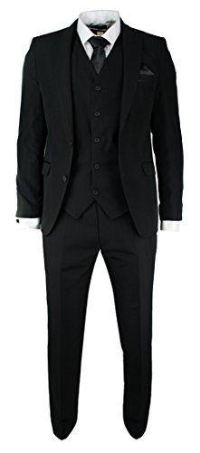 Mens Slim Fit Black Suit 5 Piece Satin Trim Wedding Prom Party Office - Royal Hub